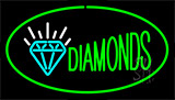 Diamonds Logo Green Neon Sign