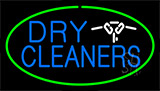 Blue Dry Cleaners Logo Green Neon Sign