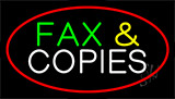 Fax And Copies Red Border Neon Sign