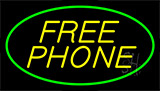 Yellow Free Phone Green Neon Sign