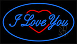 I Love You Logo Blue Neon Sign