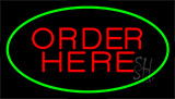 Order Here Green Neon Sign