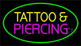 Tattoo And Piercing Green Border LED Neon Sign