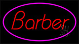 Red Barber With Pink Border Neon Sign