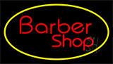 Red Barber Shop Yellow Border Neon Sign