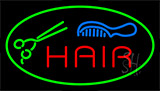 Hair With Comb And Scissor Neon Sign