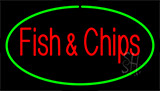 Fish And Chips Green Border LED Neon Sign