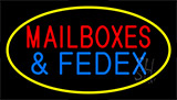 Mail Boxes And Fedex Yellow Neon Sign