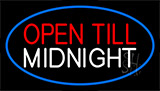 Open Till Midnight Blue Neon Sign