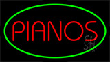 Pianos Green LED Neon Sign