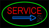 Red Service Green Neon Sign