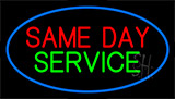 Same Day Service Blue Border Neon Sign