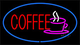 Red Coffee Blue Border Neon Sign