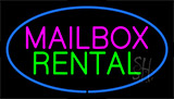 Mailbox Rental Blue Neon Sign