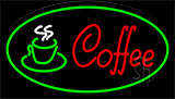 Red Coffee Logo With Green Border Neon Sign