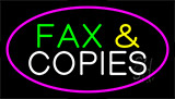 Fax And Copies Pink Border Neon Sign