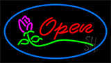 Open Rose Blue Border Neon Sign