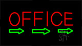Red Office With Arrow Neon Sign