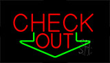 Check Out With Down Arrow LED Neon Sign