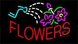 Red Flowers With Logo Neon Sign