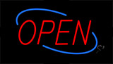 Open Red Letters With Blue Border Neon Sign