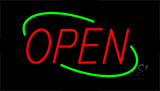 Open Red Letters With Green Border Neon Sign