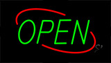 Open Green Letters With Red Border Neon Sign