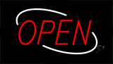 Open Red Letters With White Border Neon Sign