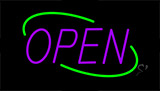 Open Green Border Purple Letters Neon Sign