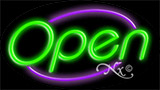 Green Open With Purple Border Neon Sign