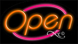 Orange Open With Pink Border LED Neon Sign