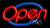 Fashing Sign Red Open With Blue Border LED Neon Sign