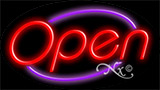 Red Open With Purple Border LED Neon Sign