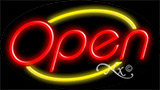 Red Open With Yellow Border LED Neon Sign