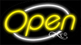 Yellow Open With White Border LED Neon Sign