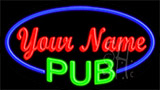 Custom Green Pub Blue Border LED Neon Sign