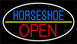 Horseshoe Open With Border Neon Sign