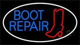 Red Boot Repair With Border Neon Sign