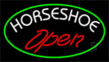 Red Horseshoe Open Neon Sign
