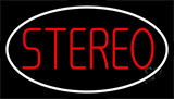 Red Stereo Block White Border 1 Neon Sign