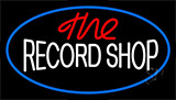 The Record Shop Block Blue Border Neon Sign