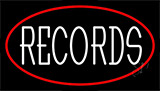 White Records Red Border Neon Sign
