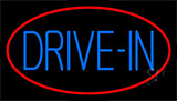 Blue Drive In With Red Border Neon Sign