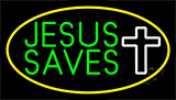 Jesus Saves White Cross With Border Neon Sign