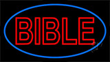 Red Bible Blue Border Neon Sign