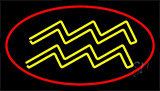 Yellow Aquarius Red Border Neon Sign