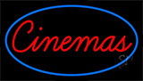 Cinemas With Blue Border Neon Sign