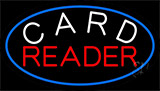 White Card Red Reader And Blue Border Neon Sign