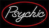 White Psychic Red Border Neon Sign