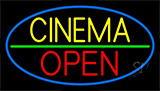 Yellow Cinema Open Neon Sign